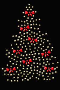 Gold Christmas Tree with Red Bows - Black Women's T-shirt
