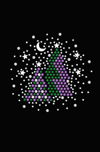Purple & Green Christmas Trees with Swarovski Snowflakes  - Women's T-shirt