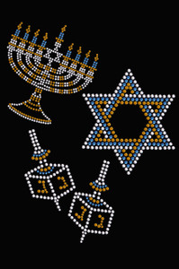 Menorah, Dreidel & Star of David (Blue, Silver, & Gold)  - Women's T-shirt