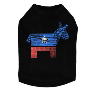 Patriotic Donkey rhinestone dog tank for large and small dogs.