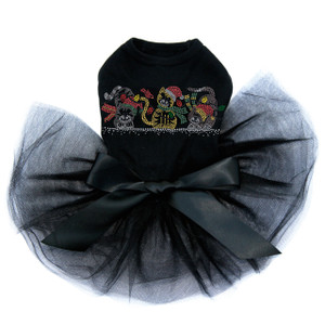 "Christmas Cats rhinestone dog tutu for large and small dogs. 9.5"" X 3.5"" design with silver, gray, black, red, green, & gold rhinestuds & rhinestones.  Sizes XXS, XS, & S can only use one cat.  Sizes M and L can use two cats.  Sizes XS, 2XL, 3XL & 4XL can use all three cats.  Please describe in comments section at check out which cats to use.  If you would like to use the extra cats please order extra blank tanks or tutus.  Please call or email if you have questions."