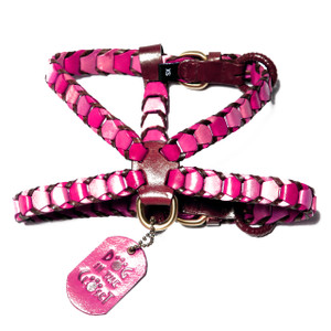 Shades of Pink Leather Dog Harness is made with three shades of pink trimmed in brown leather.  Additional attachments may be purchased separately.  Our leather collars, harnesses, and leashes were selected to receive the 2015 Editors' Choice Award from Pet Product News International.