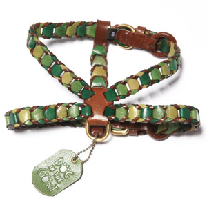Shades of Green Leather Dog Harness is made with three shades of green trimmed in brown leather.  Additional attachments may be purchased separately.  Our leather collars, harnesses, and leashes were selected to receive the 2015 Editors' Choice Award from Pet Product News International.