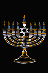 Menorah - Small (Blue, Silver, & Gold) - Women's T-shirt