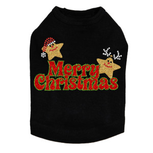 Merry Christmas Glitter Stars Dog Tank