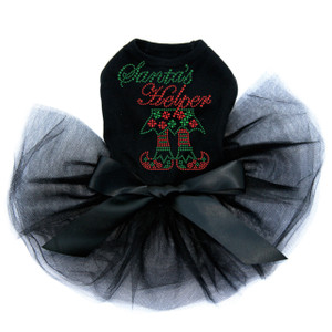 "Santa's Helper rhinestone dog tutu for large and small dogs. 5"" X 6"" design with red & green rhinestones & nailheads."