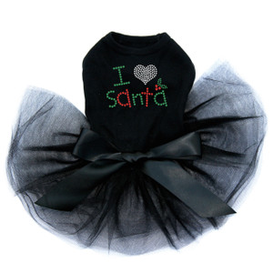 "I Love Santa rhinestone dog tutu for large and small dogs. 3.5"" X 2.5"" design with green, red, & clear rhinestones."