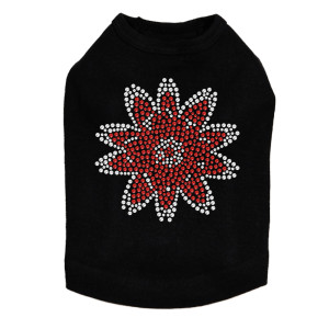 Red Rhinestone Flower dog tank for large and small dogs.