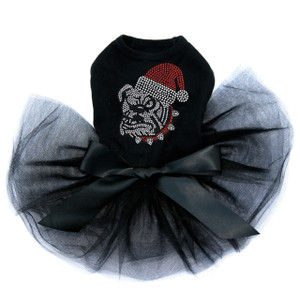 Bulldog Face - White with Santa Hat - Tutu for Big and Little Dogs
