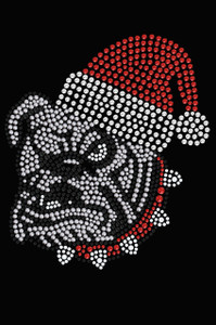 Bulldog Face (White) with Santa Hat - Black Women's T-shirt