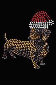 Dachshund # 2 with Santa Hat - Black Women's T-shirt