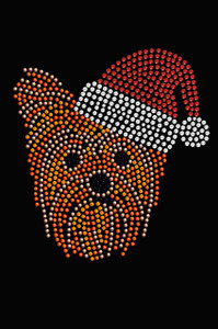 Yorkie Face # 2 with Santa Hat - Black Women's T-shirt