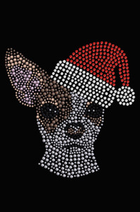 Chihuahua Face with Santa Hat - Black Women's T-shirt