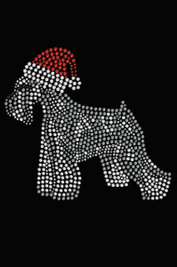 Schnauzer with Santa Hat - Black Women's T-shirt
