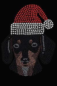 Dachshund Face with Santa Hat - Black Women's T-shirt