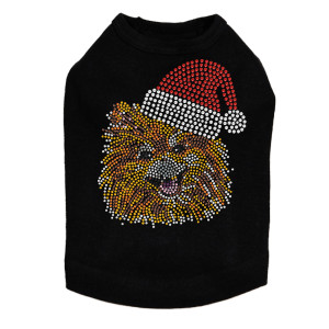Pomeranian with Santa Hat Dog Tank