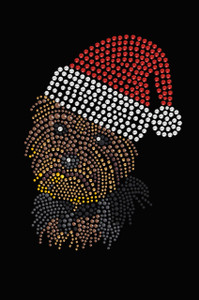 Yorkie Face # 1 with Santa Hat - Black Women's T-shirt