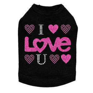 I Love You Pink Glitter rhinestone dog tank for large and small dogs.