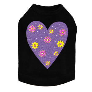 Purple glitter heart with yellow and fuchsia flowers dog tank for large and small dogs.