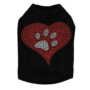 Red heart with rhinestone paw dog tank for large and small dogs.