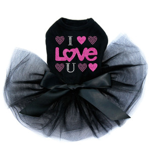 I Love You Pink Glitter rhinestone dog black tutu for large and small dogs.