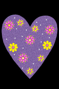 Purple glitter heart with yellow and fuchsia flowers adult t-shirt or tank.