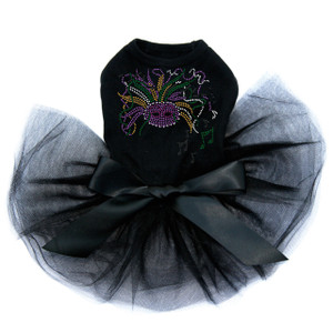 Mardi Gras mask with music notes dog tutu for large and small dogs.