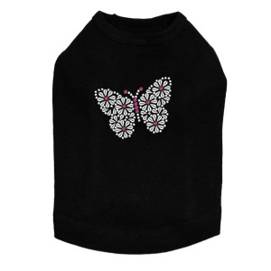 Silver Nailhead Butterfly dog tank for small and large dogs.