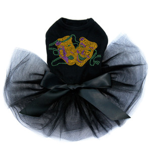 Gold Theater Comedy Tragedy Mask dog tutu for large and small dogs.