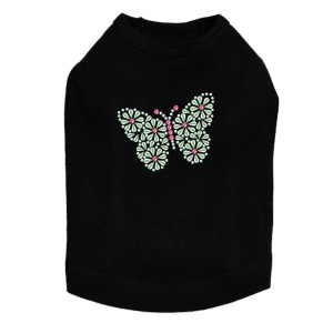 Green Nailhead Butterfly dog tank for small and large dogs.