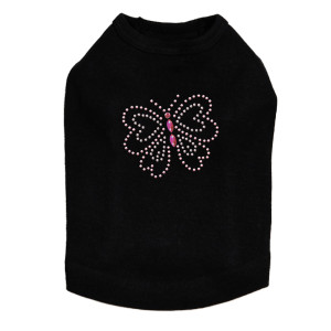 Pink Rhinestud Butterfly dog tank for small and large dogs.