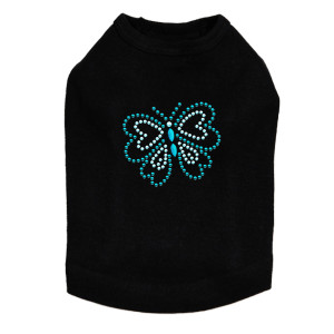 Blue Rhinestud Butterfly dog tank for small and large dogs.