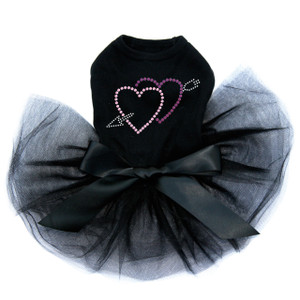 Pink & Purple Hearts with Arrow Black Tutu for large and small dogs.