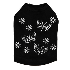 Small Rhinestone Butterflies dog tank for small and large dogs.