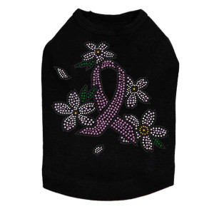 Pink Ribbon with Flowers Dog Tank