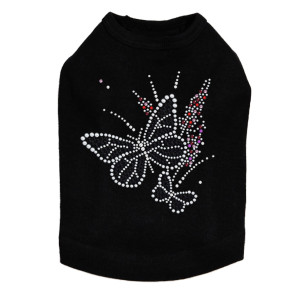 Black Butterfly with Flowers dog tank for small and large dogs.