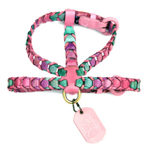 Multicolor Pink Leather Dog Harness is made with shades of pink, purple, and green trimmed in light pink leather.  Attachments may be purchased separately.  Our leather collars, harnesses, and leashes were selected to receive the 2015 Editors' Choice Award from Pet Product News International.