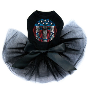 Happy Face Red, White, & Blue rhinestone dog tutu for large and small dogs.