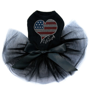 Patriotic American Heart #3 rhinestone dog tutu for large and small dogs.