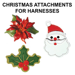 Change up the look of our leather harnesses with as assortment of Christmas attachments.    All attachments are hand made of leather.  Attachments have a leather strap that snaps around center of harness.  Harnesses  can be worn with or without the attachments.