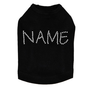 Custom Name or Phrase - Clear Rhinestones - Dog Tank