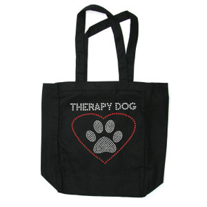 Therapy Dog rhinestone tote bag.