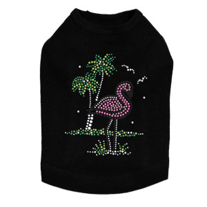 Pink Flamingo with Palm Trees dog tank for small and big dogs