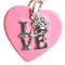 Silver plated chain collar with silver plated charms. Love with paw on pink acrylic heart.