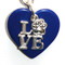 Silver plated chain collar with silver plated charms. Love with paw on blue acrylic heart.