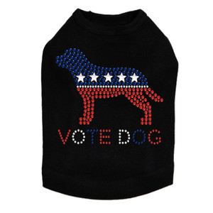 Vote Dog rhinestone dog tank for large and small dogs.