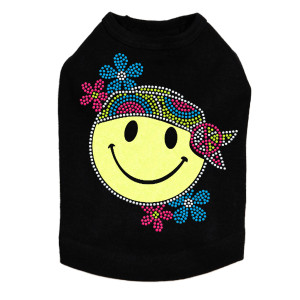 Happy Face Hippy - Dog Tank
