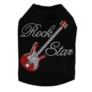 Guitar (Red Swarovski) & Rock Star Dog Tank