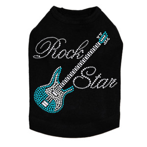 Guitar (Blue Swarovski) & Rock Star Dog Tank