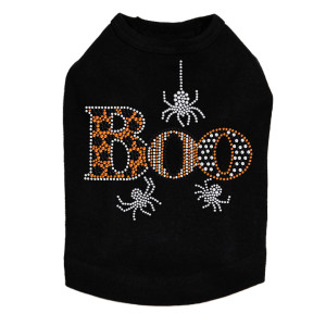 Boo with Silver Spiders - Dog Tank